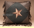 Western Pillow Faux Leather 18x18 -Lone Star  (wp10)
