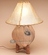 "Western Pottery Lamp & Rawhide Shade -16"" light"