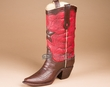 "Western Style Rustic Cowboy Boot Vase 12"" -Red  (v5)"