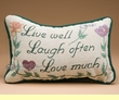 "Words That Matter Pillow -Live, Laugh, Love 12x8""  (p59)"