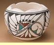"Tigua Indian Pottery Vase 7""x5"" -Sun Face  (J)"