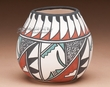 "Ysleta Del Sur Pueblo Pottery - Tigua Feather Vase 4"" (k)"
