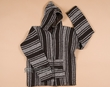 Zippered Woven Baja Shirt Hoodie -Brown  XL  (b33)