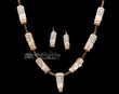 "Zuni Indian Carved Antler Owl Necklace & Earring Set 34""  (ij434)"