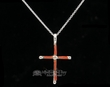 "Zuni Indian Silver Cross Necklace 20""  (ij358)"