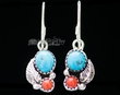Zuni Native American Silver Earrings -Turquoise & Coral  (ij414)