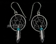 Zuni Silver Dream Catcher Earrings -Turquoise  (76)
