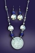 Silver Dollar Necklace with Earrings