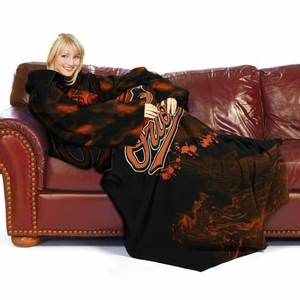 Baltimore Orioles MLB Adult Smoke Comfy Throw Blanket with Sleeves
