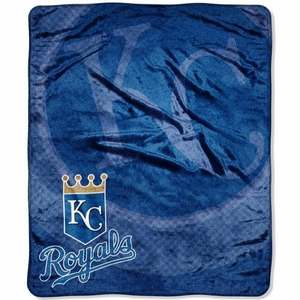 Kansas City Royals MLB Royal Plush Raschel Blanket (Retro Series) (50x60)