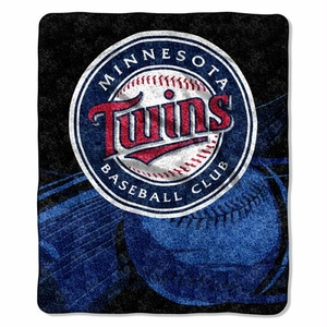 Minnesota Twins MLB Sherpa Throw Blanket (Big Stick Series) (50x60)