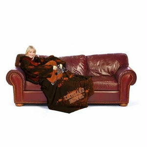 Cleveland Browns NFL Adult Smoke Huddler Throw Blanket with Sleeves