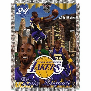 Kobe Bryant #24 Los Angeles Lakers NBA Woven Tapestry Throw Blanket (48x60)