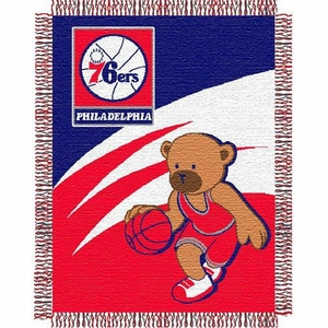 Philadelphia 76ers NBA Triple Woven Jacquard Throw Blanket (044 Series) (36x46)