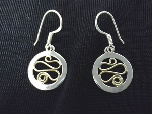 Roads of Life With The Circle of Life Sterling Silver with Brass Earrings