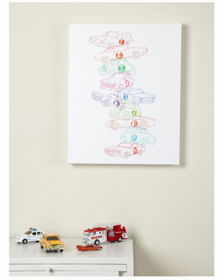 1 2 3 Cars Canvas Reproduction