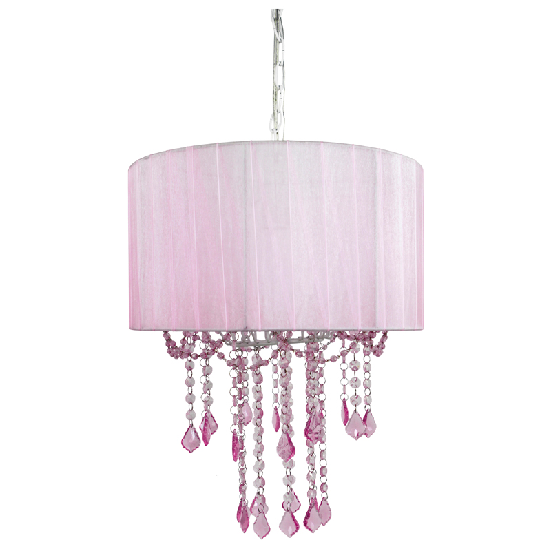 1 light pink sapphire shaded chandelier by sleeping partners