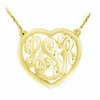 14K Gold Heart Monogram Necklace - Script