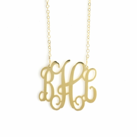 24k Gold-Plated Medium Filigree Monogram Necklace