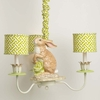 3 Arm Modern Cabbage Bunny Chandelier With Green Cross Section Mini Drum Shades