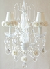3 Light Chandelier with Clear Crystals and Cream Rose Shades