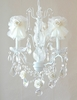 3 Light Chandelier with Clear Crystals and Cream Tulle Shades