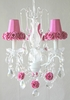 3 Light Chandelier with Clear Crystals and Hot Pink Rose Shades