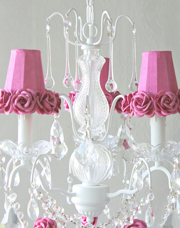 3 Light Chandelier with Clear Crystals and Hot Pink Rose