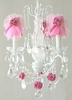 3 Light Chandelier with Clear Crystals and Hot Pink Tulle Shades