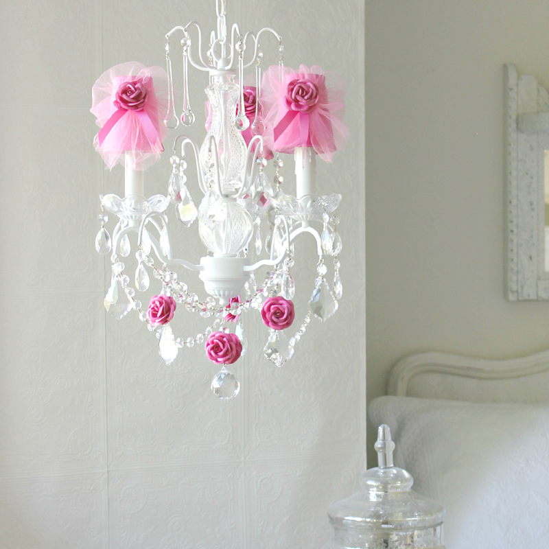 3 Light Chandelier with Clear Crystals and Hot Pink Tulle