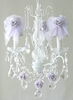 3 Light Chandelier with Clear Crystals and Lavender Tulle Shades