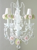3 Light Chandelier with Clear Crystals and Pink Green Rose Shades