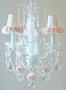 3 Light Chandelier with Clear Crystals and Pink Rose Shades