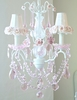 3 Light Chandelier with Light Pink Crystals and Pink Rose Shades