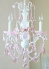 3 Light Chandelier with Light Pink Crystals and Roses