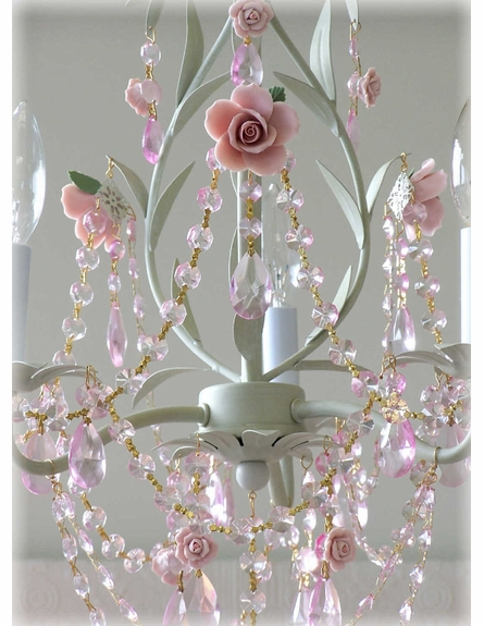 3-Light Sage Chandelier with Pink Roses