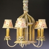 5 Arm Aged Yellow Birdcage Chandelier