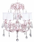 5-Arm Ballroom Chandelier in Pink with Scalloped White Shades