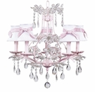 5-Arm Cinderella Chandelier in Pink with White & Pink Shades