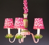 5 Arm Pink Green Waterlily Chandelier
