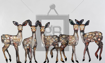 5 Dancing Fawns Canvas Wall Art