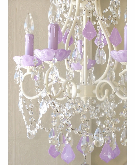 5 Light Beaded Chandelier with Milky Opal Lavender Crystals
