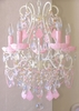 5 Light Beaded Chandelier with Milky Opal Pink Crystals