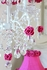 5 Light Chandelier with Hot Pink Rose Shades