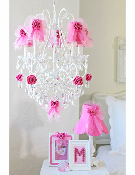 5 Light Chandelier with Hot Pink Tulle Shades