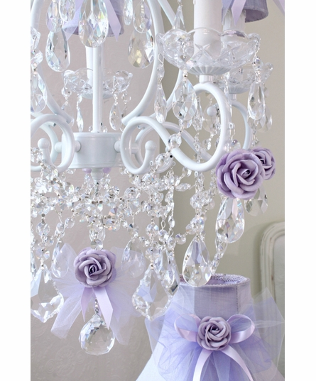 5 Light Chandelier with Lavender Tulle Bow Shades