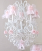 5 Light Chandelier with Pink Tulle Bow Shades