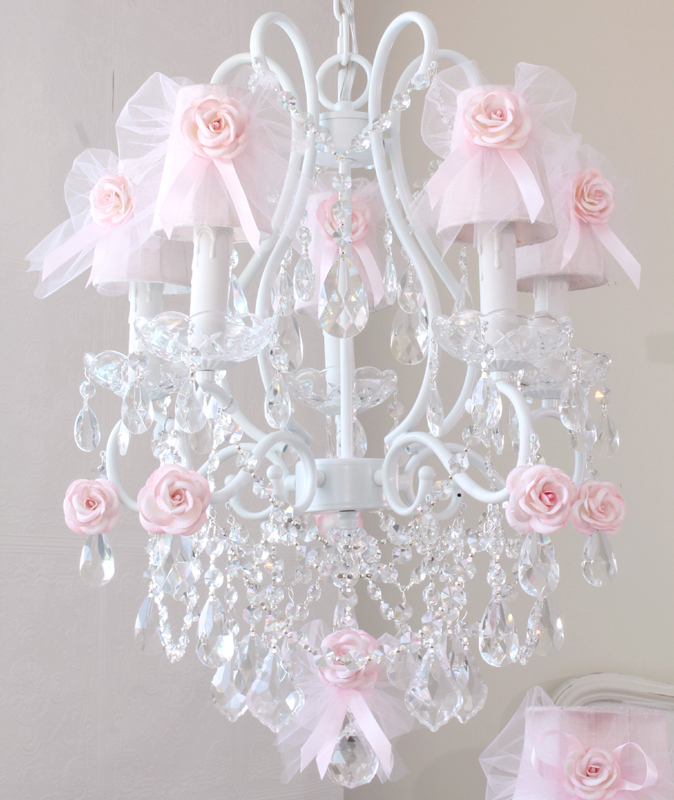 Stairway Decorated With White Tulle And Red Silk Roses: 5 Light Chandelier With Pink Tulle Bow Shades