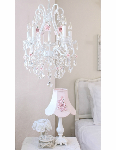 5 Light Crystal Chandelier with Pink Porcelain Roses