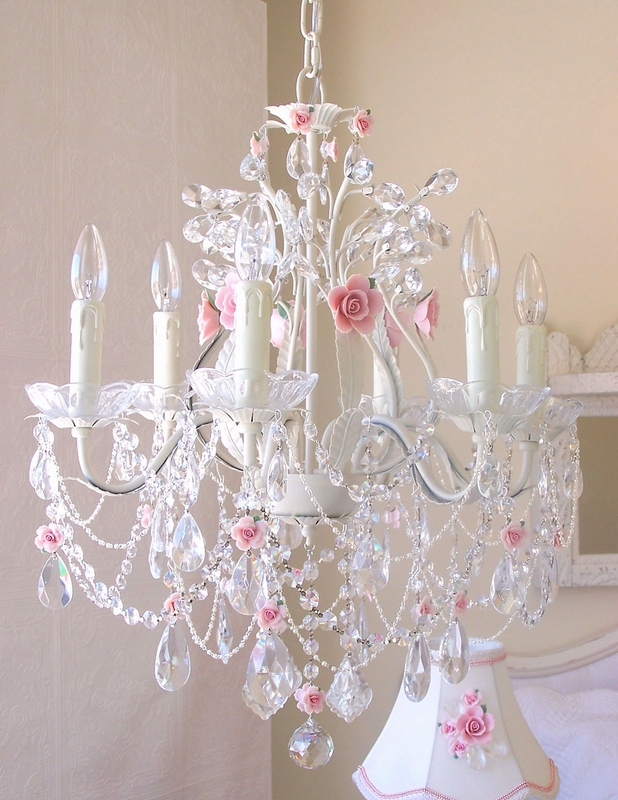 6 light crystal chandelier with pink porcelain roses